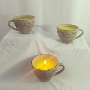 Soy Candle In Painted Teacup - Sea Salt & Orchid